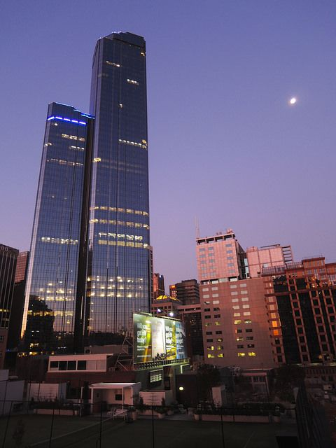 Rialto Towers & Moon, Melbourne by stephenk1977