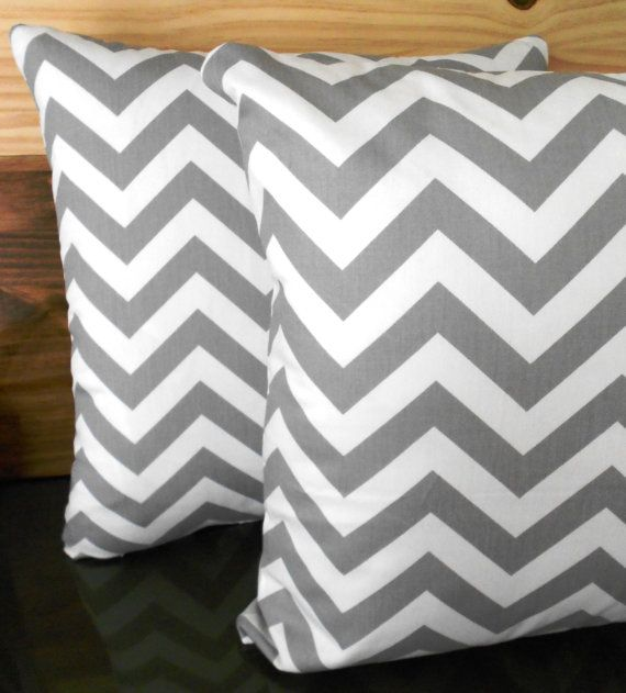 Grey and white chevron decorative pillow cover by pillowflightpdx, $22.00