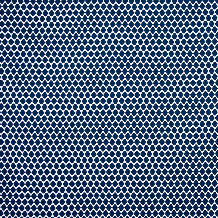Jacquard texturado decorado com um padrão hexagonal em azul e bege. Apropriado para cortinas, detalhes decorativos e muito mais. Medidas de Hexagono: 2,5cm x2,5 cm