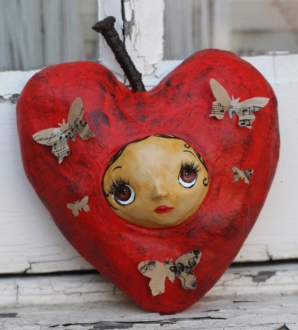Hearty Fruit by MahtabGrimshaw on Etsy  She is about 14cm paper clay wall art wich already has a hook in the back for hanging, she is fully handmade and hand painted. She is on of a kind!