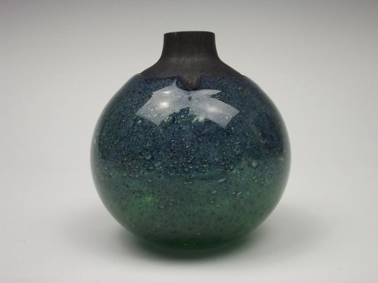Randsfjord blue & green glass vase by Benny Motzfeldt. £95.00, via Etsy.