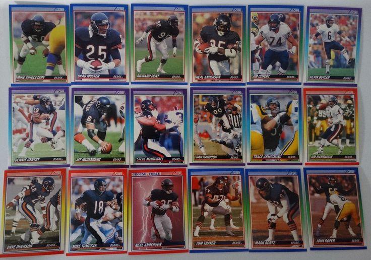 1990 Score Chicago Bears Team Set of 34 Football Cards #ChicagoBears