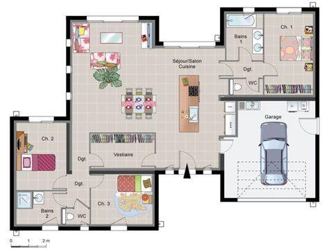 maison contemporaine de plain pied - Plan Architecturale De Maison