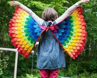 RAINBOW WINGS costume wings many sizes soft and by TreeAndVine