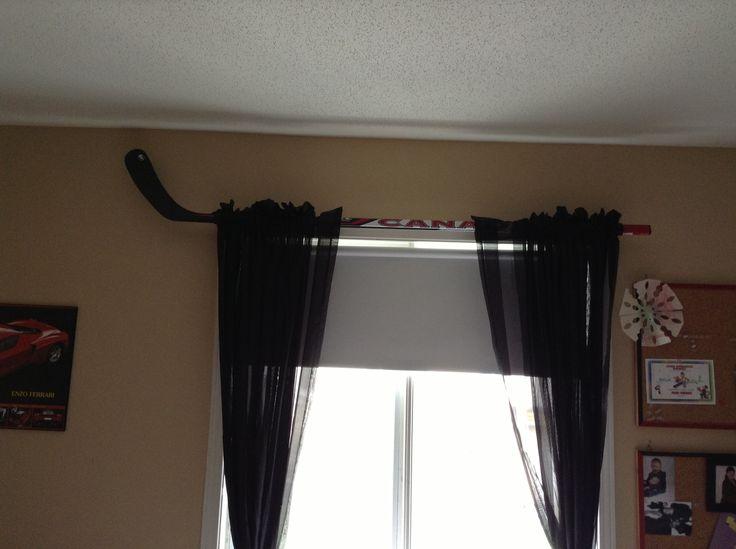 Hockey stick curtain rod for boys room curtains rods boys hockey
