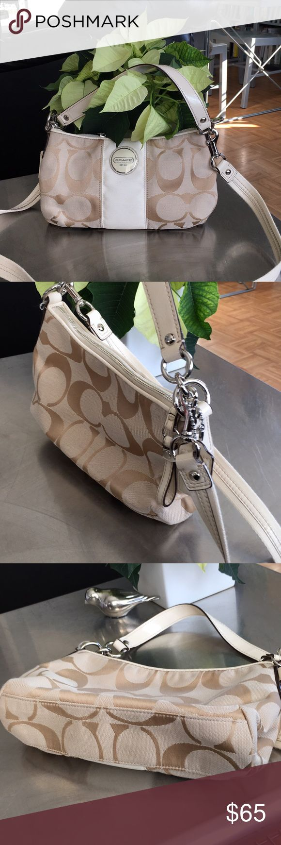 Coach/Signature/Demi Stripe/Shoulder Bag/ F17439/ EUC/ removable Shoulder strap/ silver tone hardware/interior zippered pocket and open pouch pocket/…r Coach Bags Shoulder Bags