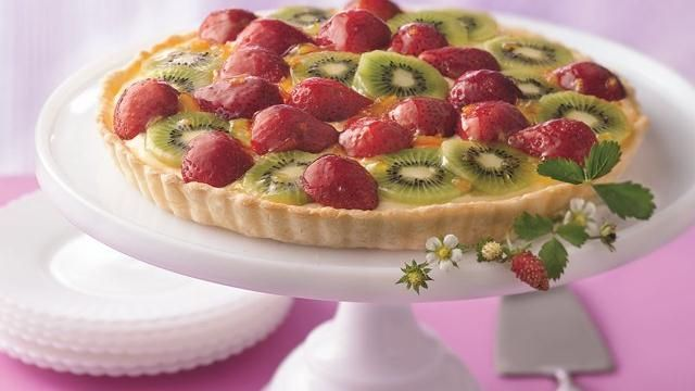 Strawberry-Kiwi Tart - Just three easy steps, and you'll be ready to serve a tantalizing tart, thanks to refrigerated pie crust. Perfect springtime dessert!