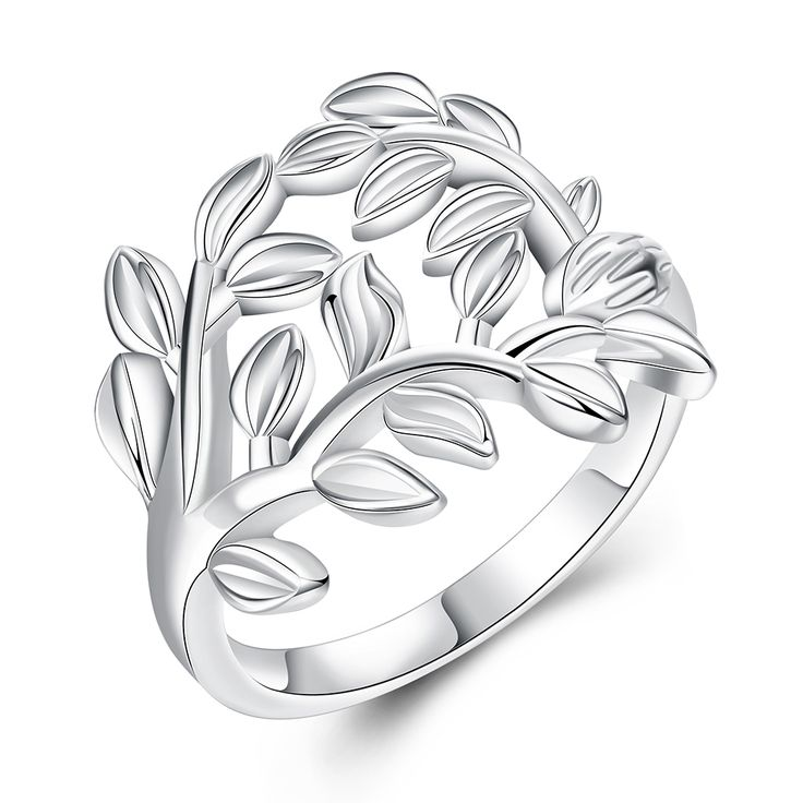 925 Sterling Silver Tree And Leaves Design Woman Wedding Engagement Party Rings Fashion Jewelry US size 7-8 Vintage Europe Style