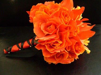 Bright tangerine wedding bouquet