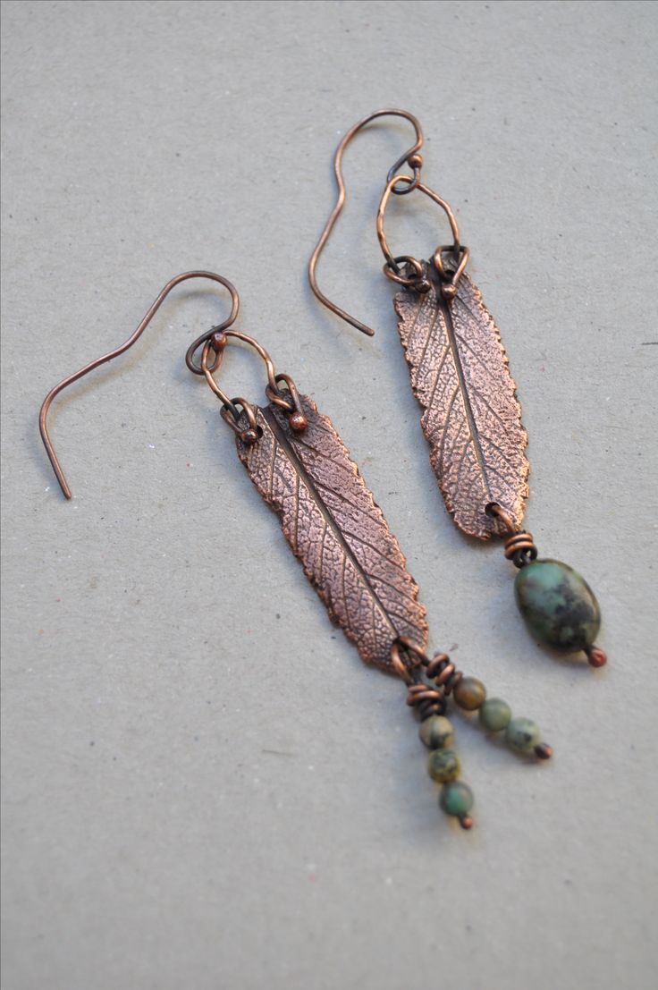 Copper sage leaf dangle earrings with African Turquoise beads by VAN VUUREN designs