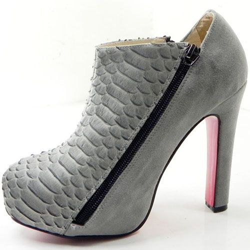 Christian Louboutin 4A Python Suede Platform Ankle Boots Grey ...
