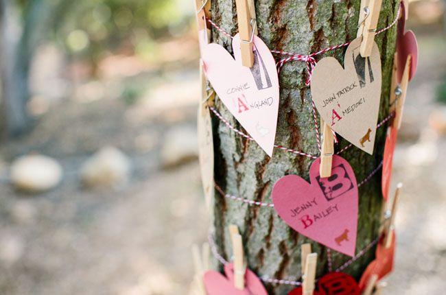 heart escort cards