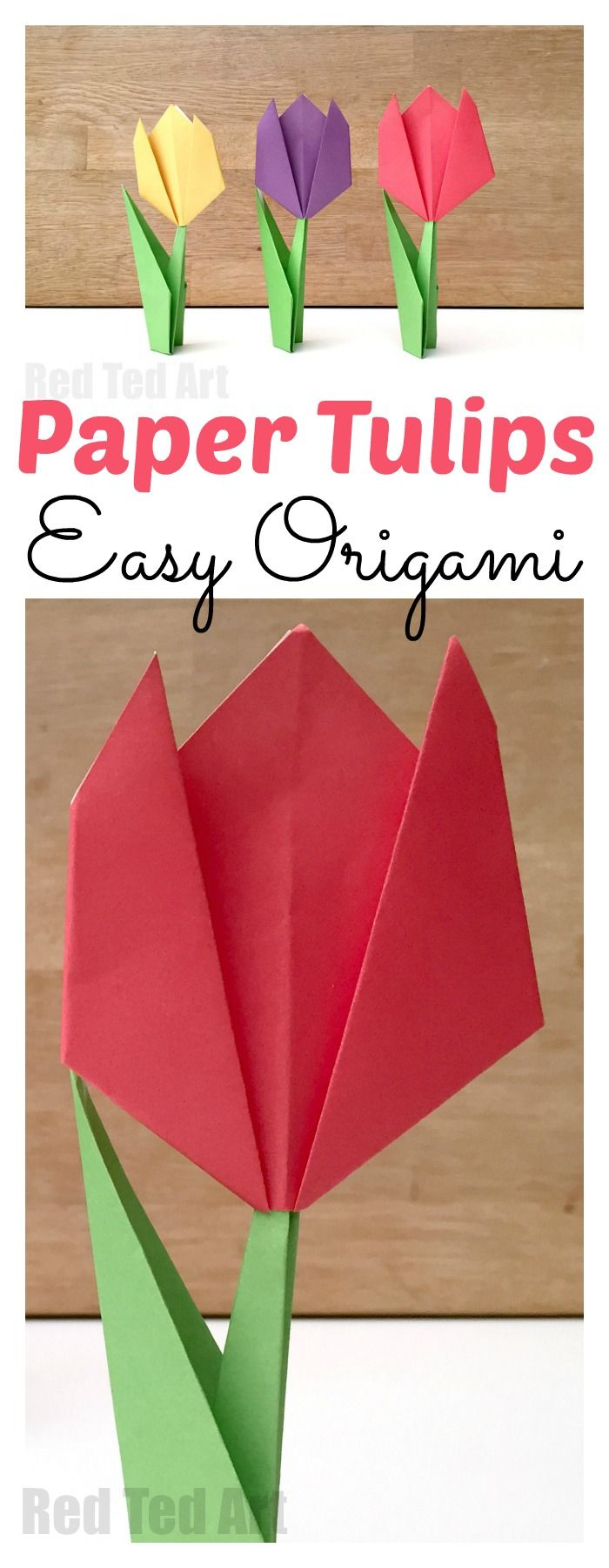 Easy Origami For Kids Red Ted Art Make Crafting With Kids Easy Fun In 2020 Tulip Origami Origami Easy Origami For Beginners