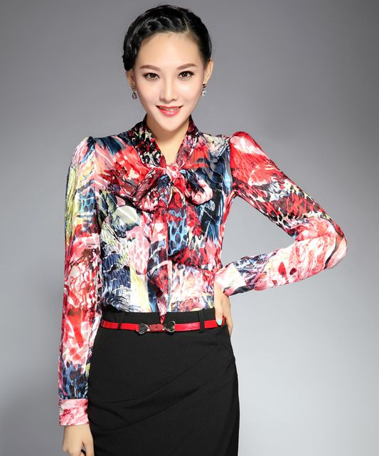 2016 fashion spring long-sleeve slim print blouses silk shirts women's clothing female blouses shirts silk Price on the app: US $77.28 US $78.40 /piece click the link to buy http://goo.gl/YJxPC6