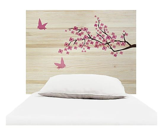 Testiera letto in legno Tree naturale e rosa, 105x80x3 cm