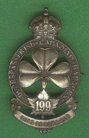Cef 199th Battn Officer Cap Badge Irish Canadian Rangers