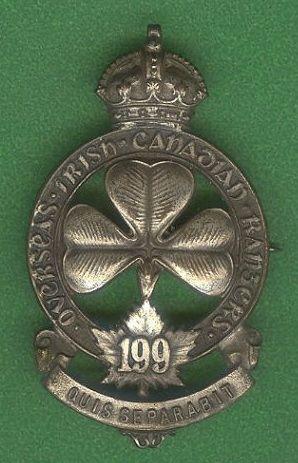 CEF 199th Battn Officer Cap Badge  Irish Canadian Rangers