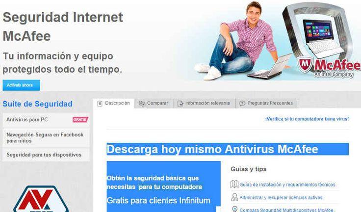 Descarga hoy mismo Antivirus McAfee y obtén la seguridad básica que necesitas para tu computadora, Gratis para clientes Infinitum,  ¡ahorra hasta $649* al año!  el antivirus McAfee es tanto para PC como para Mac. Para descargarlo, entren a esta página web de Telmex click aquí y sigan las instrucciones.