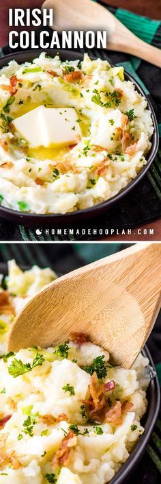 Irish Colcannon! All mashed potato fans are bound to love this traditional Irish side dish! With tender cooked cabbage mixed with creamy potatoes and topped with crispy, crumbled bacon, colcannon is the perfect side dish for any Irish cuisine. | HomemadeHooplah.com