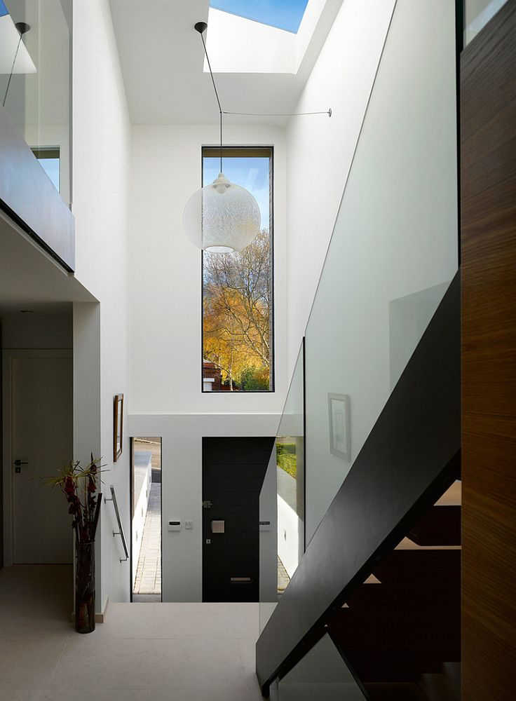 modern entrance perfect simple stairs love how the glass has no fixings