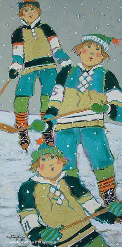 Claudette Castonguay, 'Avec les amis sur la patinoire...', 12'' x 24'' | Galerie d'art - Au P'tit Bonheur - Art Gallery