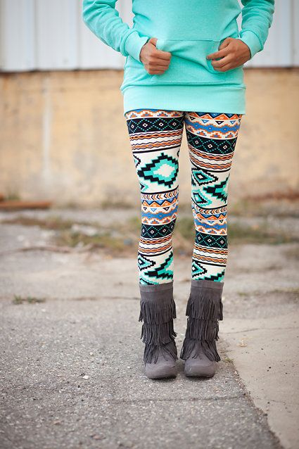 Mint Aztec Leggings - My Sisters Closet $10