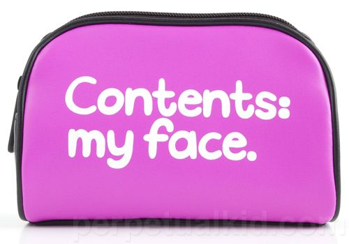 """CONTENTS: MY FACE COSMETIC BAG. $14 6.75""""wide x 5"""" tall x 2.5"""" deep.  Hot pink and black PVC with zippered closure and black lining."""