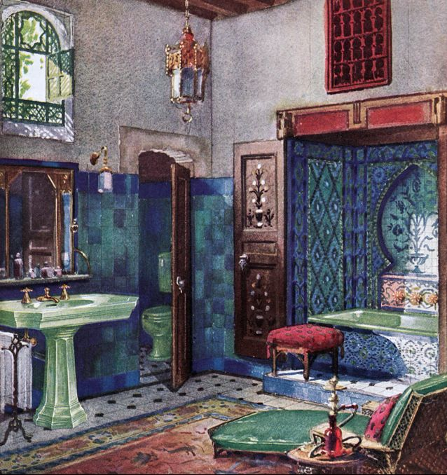 How about this 1928 moorish inspired bath complete ad by for Bathroom ideas 1920s home