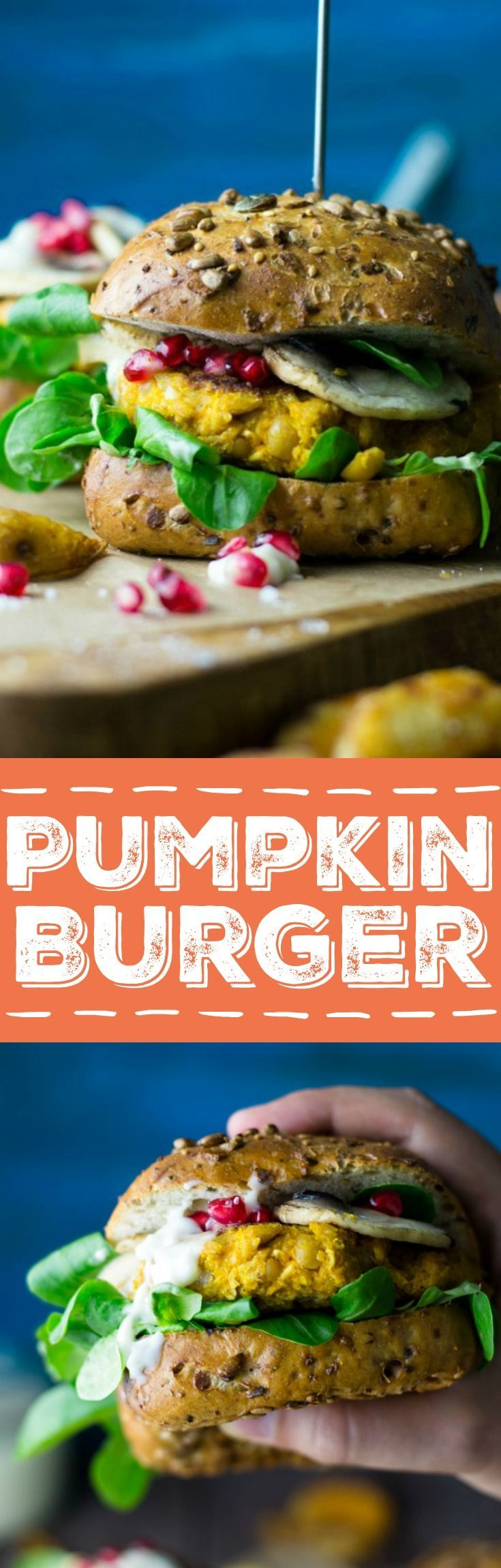 This pumpkin veggie burger with lamb's lettuce, mushrooms, pomegranate, and garlic mayonnaise is just perfect for fall! Super healthy and insanely delicious! You won't miss the meat in this vegan burger!
