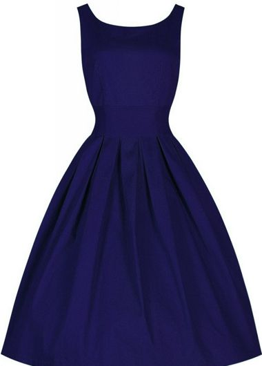 Vintage Design Round Neck Sleeveless Dress