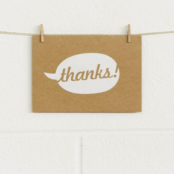 'Say Thanks' White Foil on Kraft, Thank You Cards, 10pk