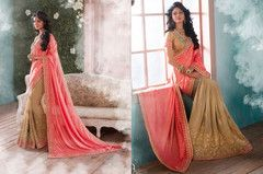 PartyWear Embroidered Georgette Jacquard Saree 7150