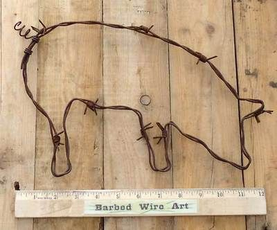 farm pig folk kitchen wall decor cow rodeo bull sculpture by barbed wire art ebay - Kitchen Wall Decor