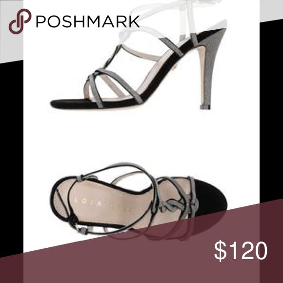 LOLA CRUZ evening sandal High heeled evening sandal. Glittery leather metallic twisted straps, adjustable ankle strap, contrast suede outsole Approximate measurements: heel 4. Size: EU38. Lola Cruz Shoes Sandals
