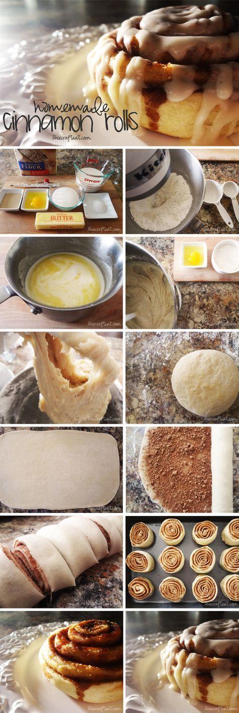 para la masa:4-5 tazas de harina ,2 paquetes de levadura seca (4,5 cucharaditas),1 ita de sal,¾ de taza de leche ½ taza de agua,½ taza de mantequilla derretida,½ taza de azúcar,1 huevo.Para el relleno:mantequilla derretida para untar,½ taza de azúcar morena,2 itas de canela Para el glaseado:1,5 tazas de azúcar en polvo,1 cuch de mantequilla,⅛ ita de vainilla,2-3 itas de agua caliente. http://www.livecrafteat.com/eat/easy-homemade-cinnamon-rolls/