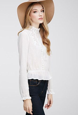 FOREVER 21 Embroidered High-Neck Blouse Ivory Medium $22.90 AT vintagedancer.com
