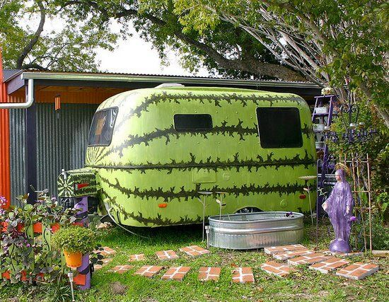 Paint an old trailer like a watermelon. I like it, but I like old trailers as they are the very best.