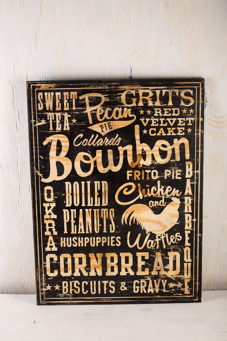 Southern Foods Wood Sign | BourbonandBoots.com