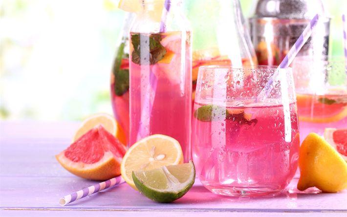 Descargar fondos de pantalla La toronja, la limonada, bebida rosa, limón, lima