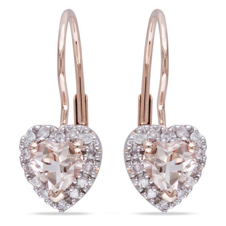 MIMI&MAX 10K Rose Gold Morganite & Diamond Heart Earrings (0.14 Ctw, G-H, I2;I3) - 11 Main
