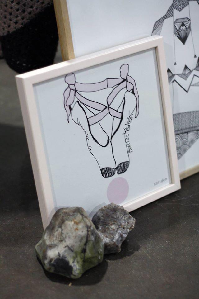 Et sneak peak af nor:dens nye kollektion af illustrationer. Balletskoen er her præsenteret