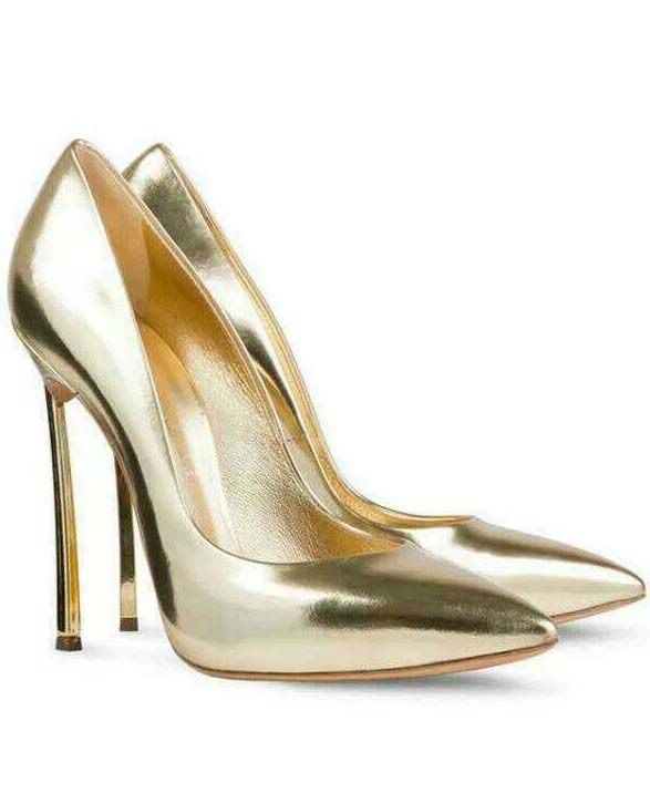 Gold High Heel Sparkle Shoes 67.50