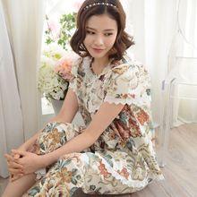 Nuove donne pigiama primavera e l'estate del bicchierino-manicotto degli indumenti da notte femminile 100% cotone tessuto 100% cotone dolce salotto della principessa set(China (Mainland))