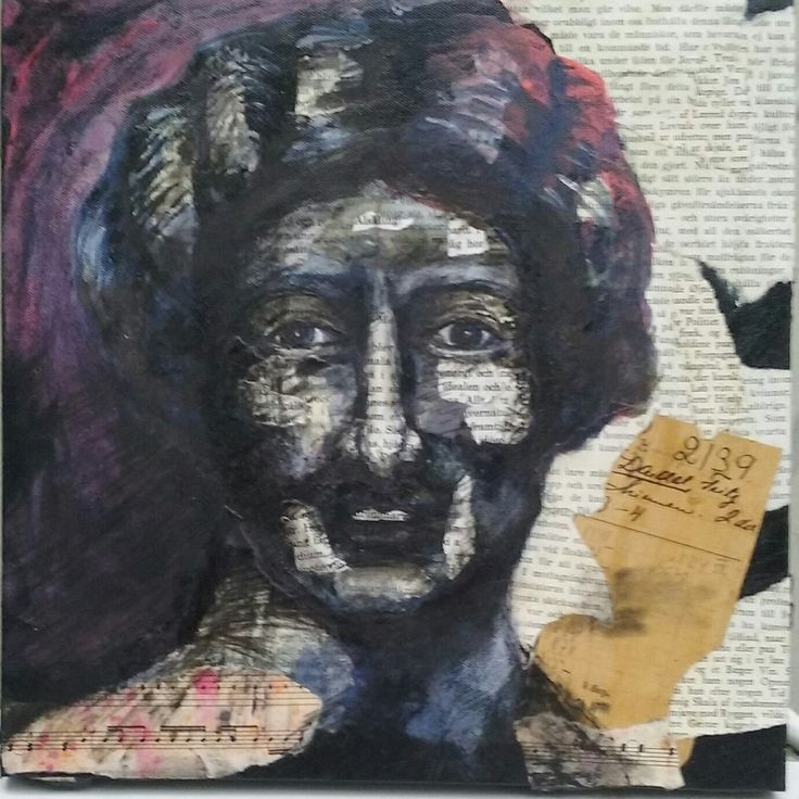 #Onceuponatime. Acrylic painting and Collage with old book-pages. By Ylva Sillén