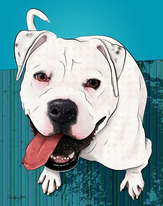 "Winnie, American Bulldog, 11x14"" Pop Art Print, Dog Art"