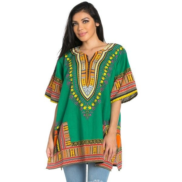 Vibrant African Print Dashiki Shirt Dress in Green ($22) ❤ liked on Polyvore featuring dresses, shirt dresses, green dress, green print dress, long sleeve shirt dress and t-shirt dresses