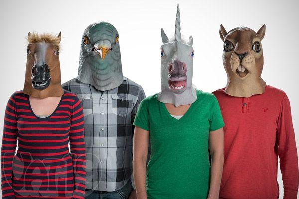 Creepy Animal Head Masks: Latex Horse, Squirrel, Pigeon, and Unicorn masks