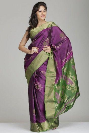 Dark Berry Purple & Green Soft Silk Saree With Gold Tissue Border & Floral Motifs