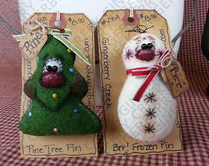 Navidad naturaleza Pins/Ornies patrón #143 - patrón de muñeca primitiva - Navidad - pino - muñeco de nieve - Pin/brocha