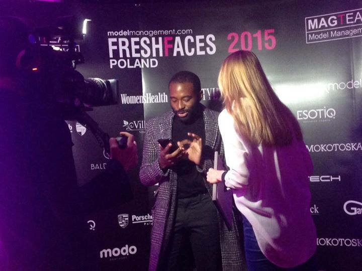 Tracy Cunningham from Elite #NY gettone ready for his interview at the ‪#FreshFacesPoland2015 grand finals!